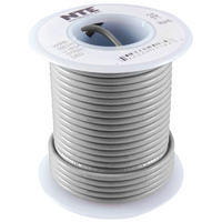 NTE WH610-08-1000  HOOK UP WIRE 600V STRANDED 10 GAUGE GREY 1000 FOOTSPOOL