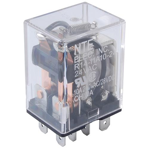 "NTE Electronics R10-14A10-24N RELAY-24VAC 10AMP 3PDT GENERAL PURPOSE .187/"" 3-WAY"